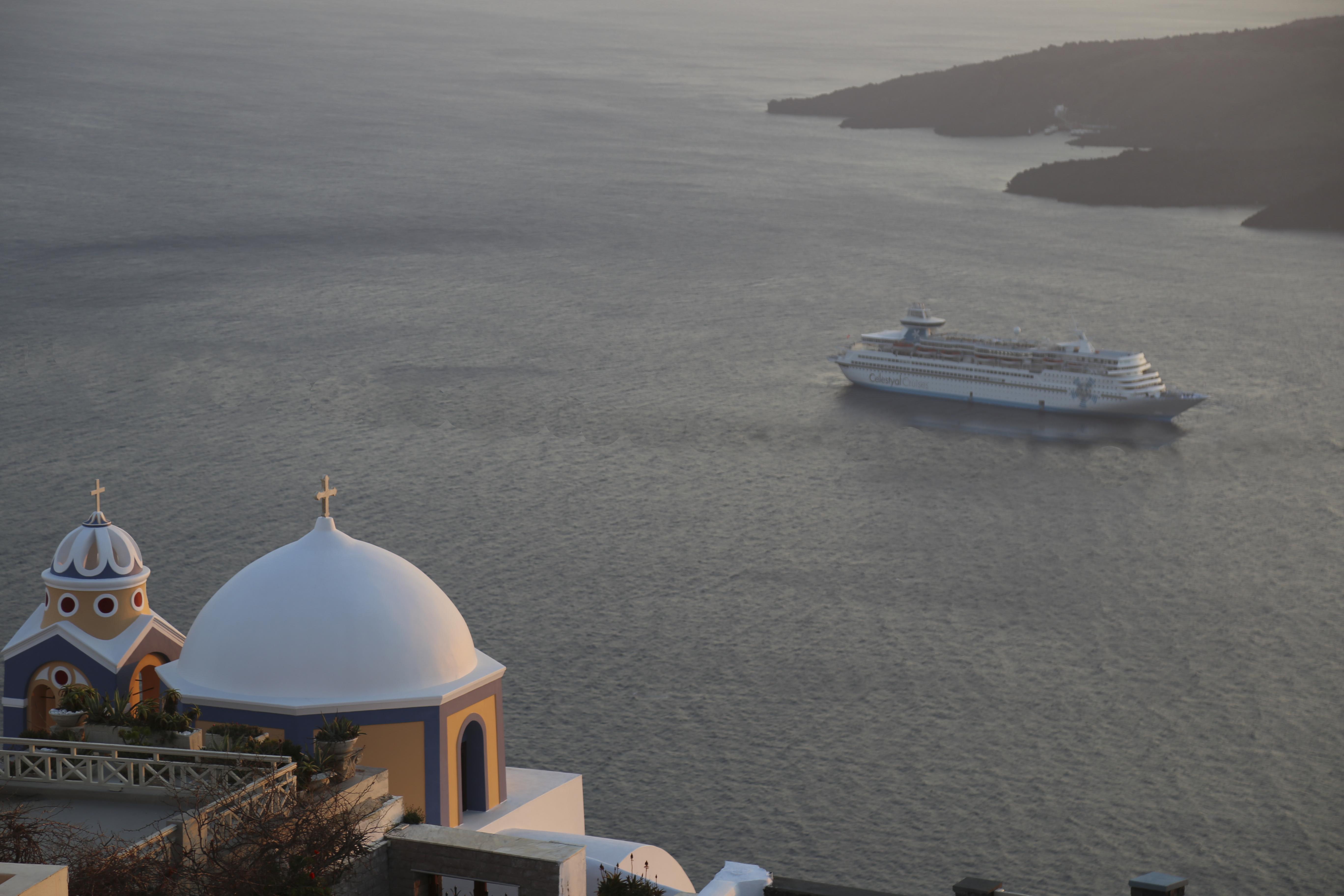Santorini church with cruise - edited