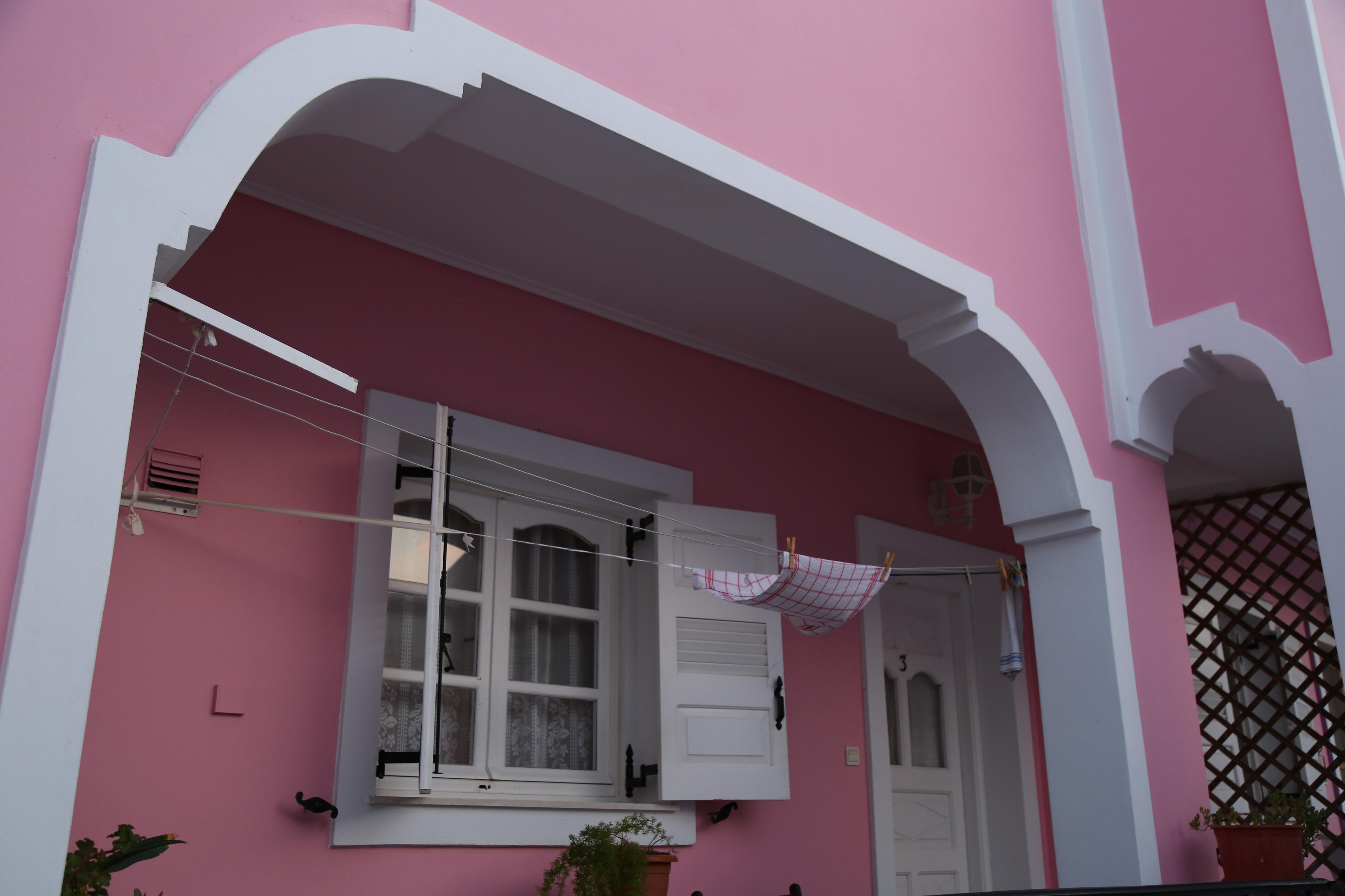Santorini pink house